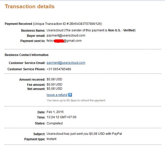 Bukti Pembayaran Dari UsersCloud