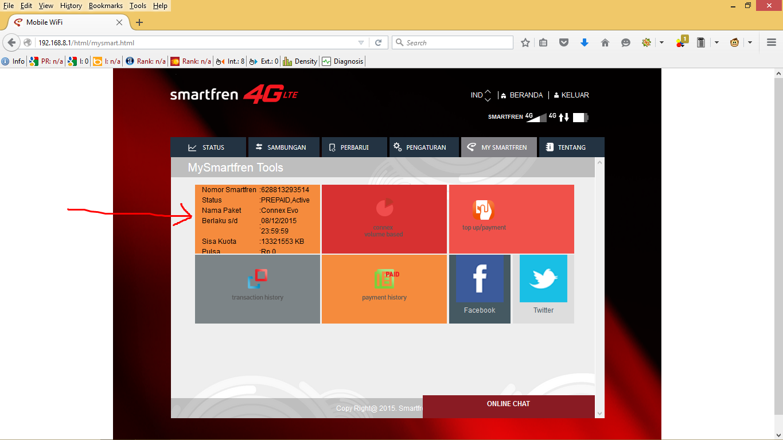 Cara Mengecek Nomor SmartFren Pada Modem Wifi SmartFren AndroMax M2P