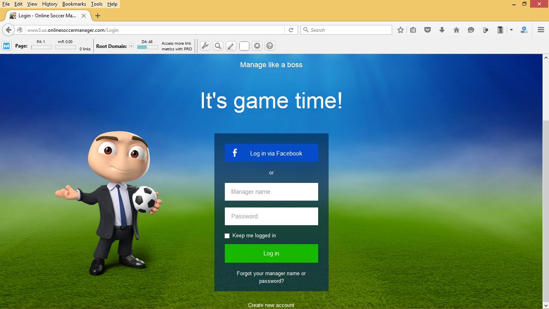 Cara Log In Dengan Tampilan Baru OSM (Online Soccer Manager) Menggunakan Komputer
