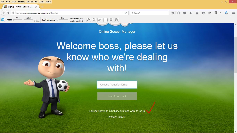 Cara Log In Dengan Tampilan Baru OSM (Online Soccer Manager) Via Komputer