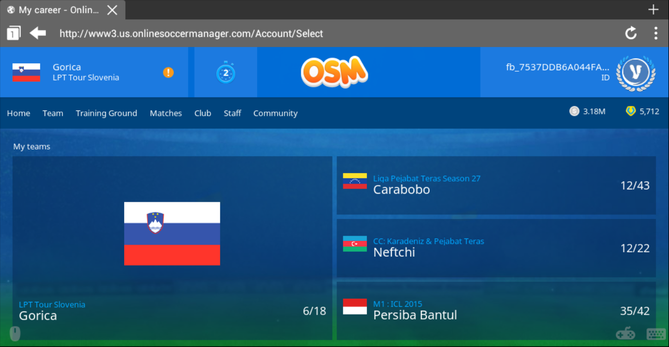 Log In Ke Tampilan Baru OSM (Online Soccer Manager) Via Android