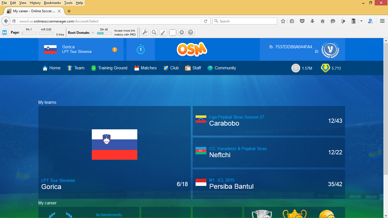Log In Ke Tampilan Baru OSM (Online Soccer Manager) Via Komputer