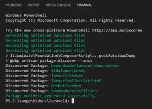 Instalasi Package Laravel Collective HTML Berhasi