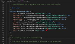 Route Middleware di Kernel